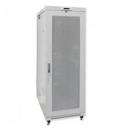 EuroMet 12946 Рэковый шкаф 42U, 600х600 мм, с металлической перфорированной дверью, цвет черный/серебро.