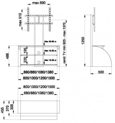 Подставка Akur Пассат 1500 с плазмастендом