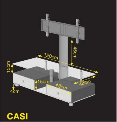 Подставка под ТВ и HI-FI Ultimate CASI 1248B/WB silver alu