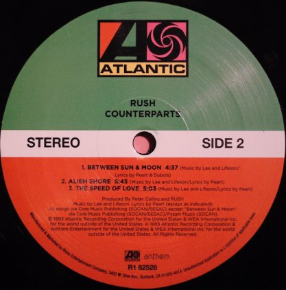 Rush COUNTERPARTS (200 Gram/3 sides of audio + 4th side etching)