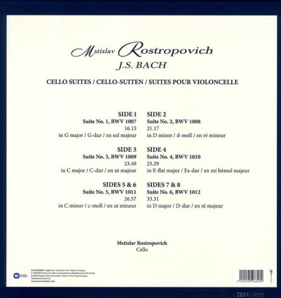 Mstislav Rostropovich J.S. BACH - CELLO SUITES (Box set/Remastered)