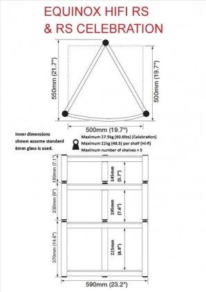 Atacama RS Single Shelf Module Hi-Fi - 195mm Black/Piano B