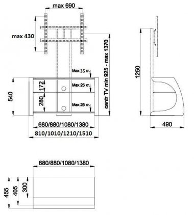 Подставка Akur Сиквел 1200 с плазмастендом