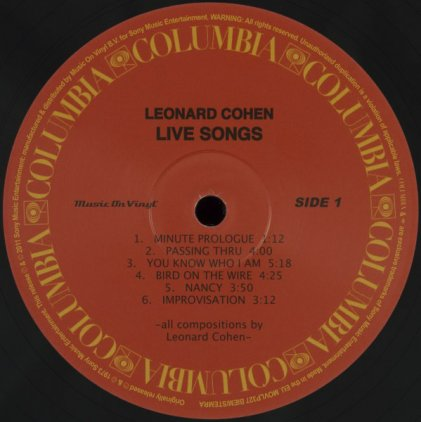 Виниловая пластинка Leonard Cohen LIVE SONGS (180 Gram/Remastered)