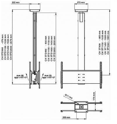 Крепеж потолочный для двух плазм SMS Flatscreen CH STD1115 A/S EU