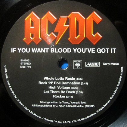AC/DC IF YOU WANT BLOOD YOU'VE GOT IT (Remastered/180 Gram)