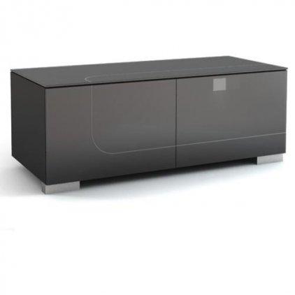Подставка под телевизор MD 506.1212 Planima (ящик: черный, фасад: дымчатый, опора: алюминий)