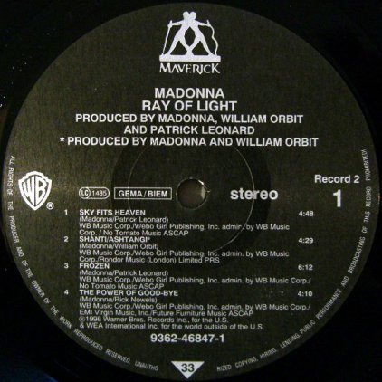 Виниловая пластинка Madonna RAY OF LIGHT (180 Gram)