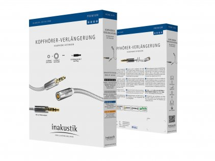In-Akustik Premium Extension Audio Cable 5м,3.5мм jack<>3.5мм jack(F)+6,3 jack adapter, 5 м,00410205