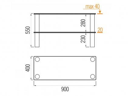 MD Flatform TV 04 серебро/прозрачное стекло