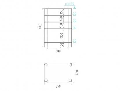 Подставка под аппаратуру MD 108-5 (хром/матовое стекло)
