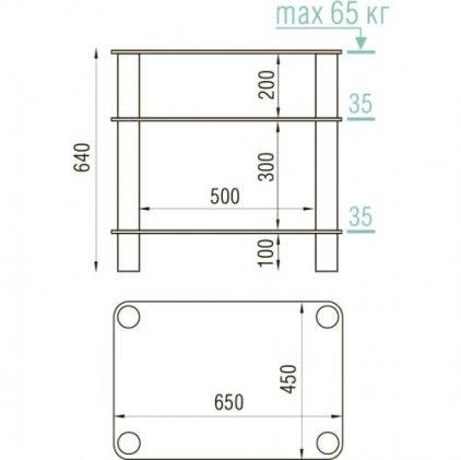 Подставка под аппаратуру MD 108-3 (хром/прозрачное стекло)