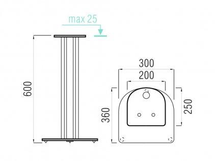 Стойки под акустику MD 203-600 (хром/дымчатое стекло)