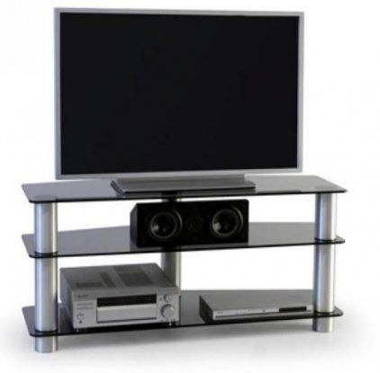 Подставка под телевизор MD 527 (алюминий/дымчатое стекло)