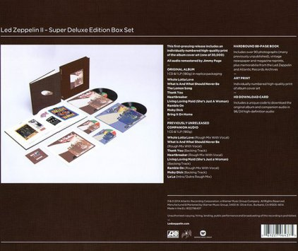 Виниловая пластинка Led Zeppelin LED ZEPPELIN II (Super Deluxe Edition Box set/Remastered/2CD+2LP/180 Gram/Hardbound 88-page book)