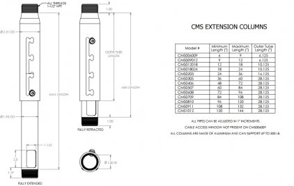 Chief CMS006009 black Extension Adjust Column 6-9""