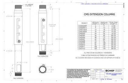 "Chief CMS0203 white штанга регулируемая длиной 24""-36"" ("