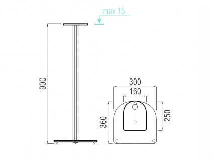 MD 203-900 серебро/прозр.стекло (высота 90 см)