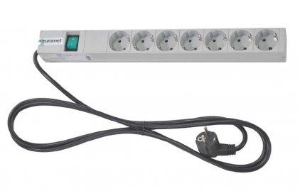 EuroMet 09777 Рэковая панель распределения питания 220В, 7 розеток SHUKO, DIN49440. 16A/250В, 1U.