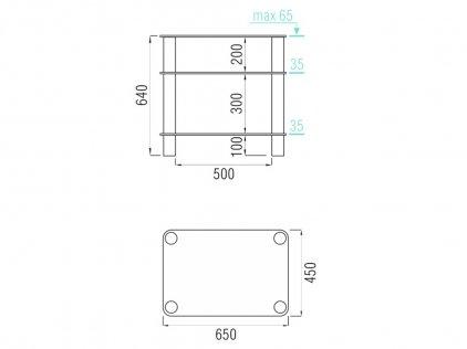 Подставка под аппаратуру MD 108-3 (серебро/прозрачное стекло)