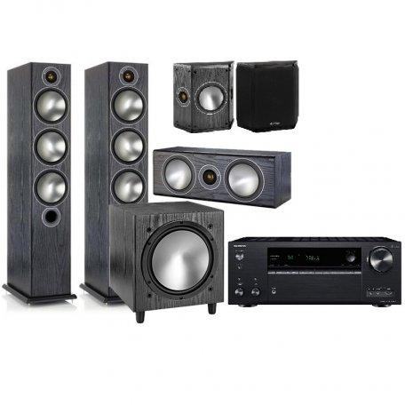 Onkyo TX-NR686 black + Monitor Audio Bronze 6 + Bronze Centre + Bronze FX + Bronze W10 black oak