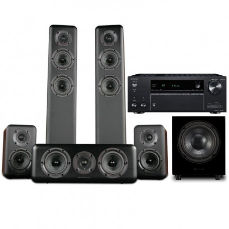 Onkyo TX-NR686 black +  Wharfedale Diamond 330 + 310 + 300C Walnut + WH-D10 Blackwood