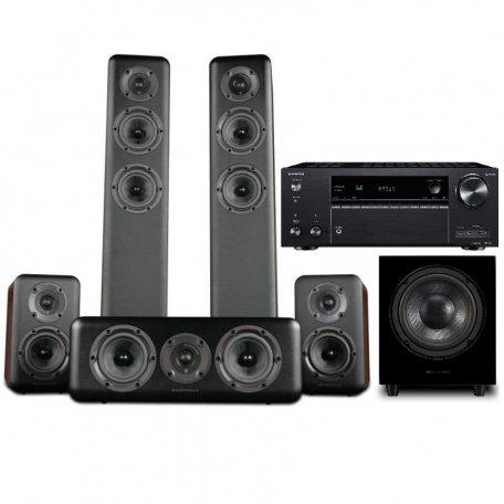 Onkyo TX-NR686 black +  Wharfedale Diamond 330 + 310 + 300C Walnut + WH-D10 Blackwood