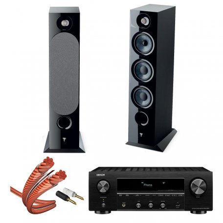 Focal Chora 826 black + Denon DRA 800H Black + In-Akustik 00604S033, 2.5м