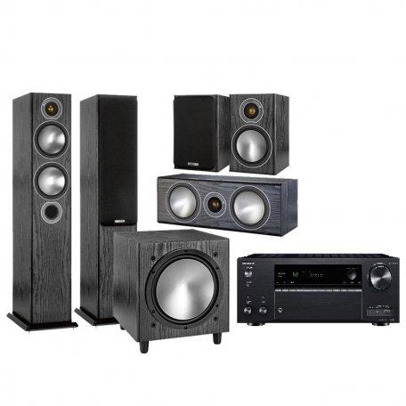 Onkyo TX-NR686 black + Monitor Audio Bronze 5 + Bronze 1 + Bronze Centre + Bronze W10 black oak
